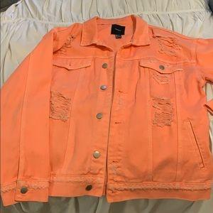 Neon distressed denim jacket